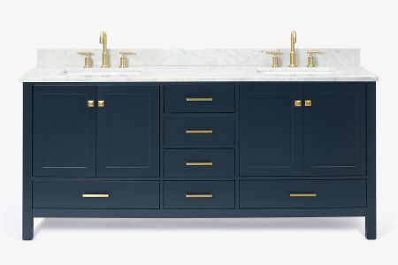 Ariel cambridge 73 in. double rectangle sink vanity with carrara white marble countertop in midnight blue