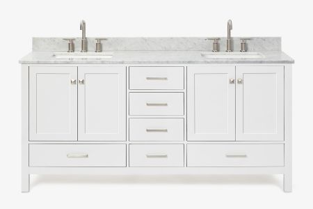 Ariel cambridge 73 in. double rectangle sink vanity with carrara white marble countertop in white