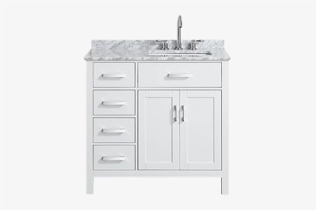 Belmont decor hampton 37 in. single sink vanity with right offset rectangle sink
