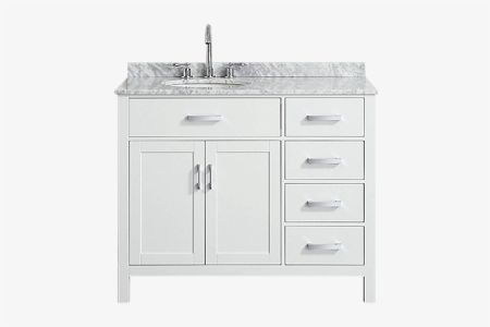 Belmont decor hampton 43 in. single sink vanity with left offset oval sink