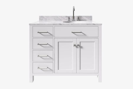 Belmont decor hampton 43 in. single sink vanity with right offset oval sink