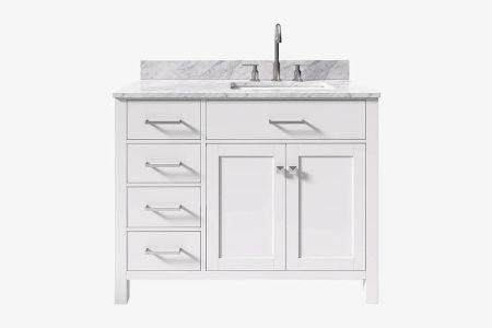 Belmont decor hampton 43 in. single sink vanity with right offset rectangle sink