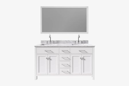 "Belmont decor hampton 61"" double rectangle sink vanity set"