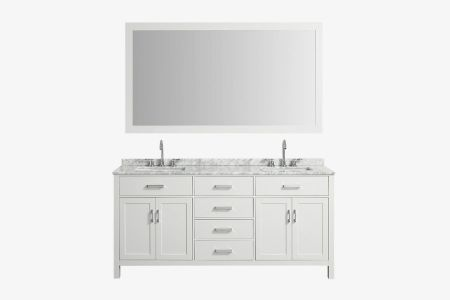 "Belmont decor hampton 73"" double rectangle sink vanity set"