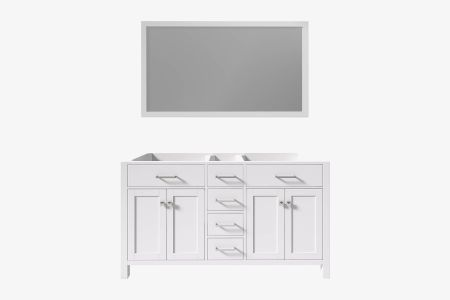Belmont decor hampton 60 in. double sink base cabinet with matching framed mirror