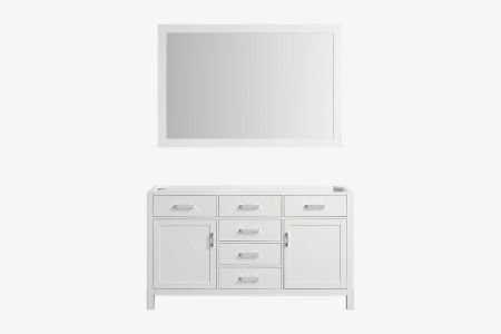 Belmont decor hampton 60 in. single sink base cabinet with matching framed mirror