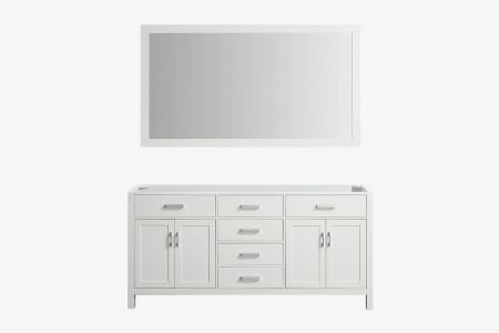 Belmont decor hampton 72 in. double sink base cabinet with matching framed mirror