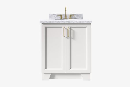 Ariel taylor 31 in. oval sink vanity with carrara white marble or white quartz countertop