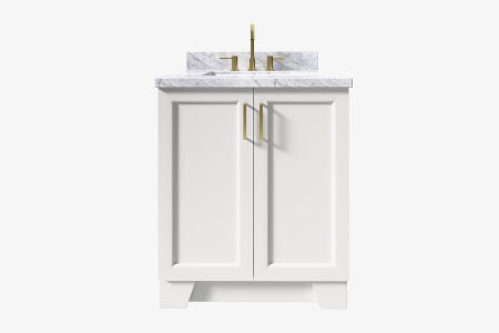 Ariel taylor 31 in. rectangle sink vanity with carrara white marble - white quartz countertop