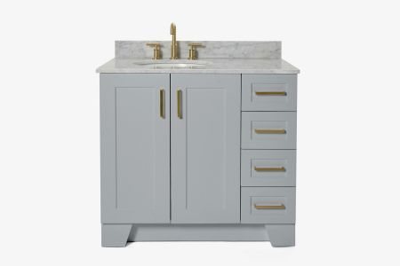 Ariel taylor 37 in. left offset single oval sink vanity with carrara white marble countertop in grey
