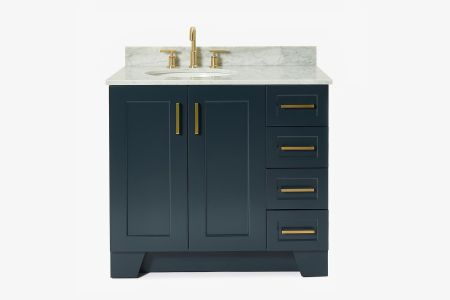 Ariel taylor 37 in. left offset single oval sink vanity with carrara white marble countertop in midnight blue