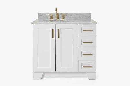 Ariel taylor 37 in. left offset single oval sink vanity with carrara white marble countertop in white