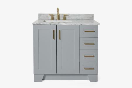Ariel taylor 37 in. left offset single  rectangle sink vanity with carrara white marble countertop in grey