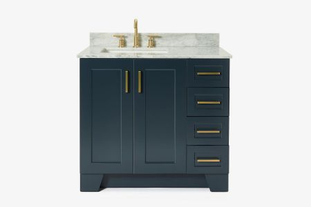 Ariel taylor 37 in. left offset single rectangle sink vanity with carrara white marble countertop in midnight blue