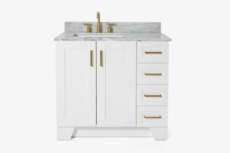 Ariel taylor 37 in. left offset single rectangle sink vanity with carrara white marble countertop in white