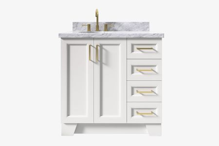 Ariel taylor 37 in. left offset oval sink vanity with carrara white marble - white quartz countertop