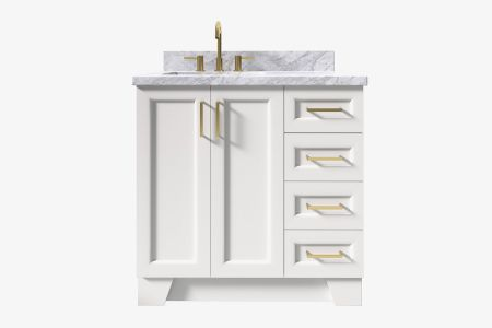 Ariel taylor 37 in. left offset rectangle sink vanity with carrara white marble -white quartz countertop