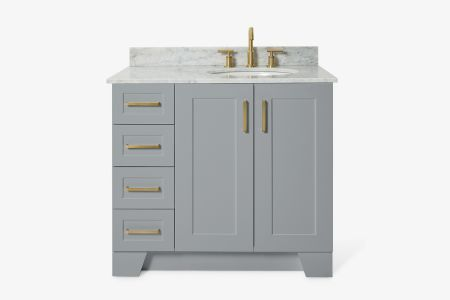 Ariel taylor 37 in. right offset single oval sink vanity with carrara white marble countertop in grey