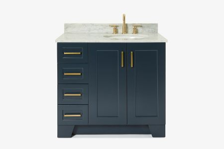 Ariel taylor 37 in. right offset single oval sink vanity with carrara white marble countertop in midnight blue