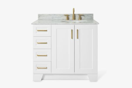 Ariel taylor 37 in. right offset single oval sink vanity with carrara white marble countertop in white