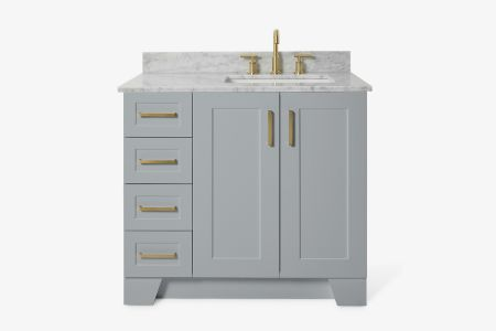 Ariel taylor 37 in. right offset single rectangle sink vanity with carrara white marble countertop in grey
