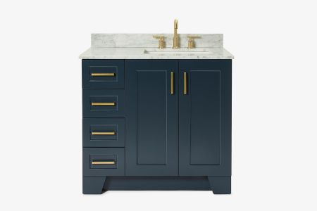 Ariel taylor 37 in. right offset single rectangle sink vanity with carrara white marble countertop in midnight blue
