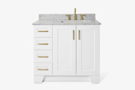 Ariel taylor 37 in. right offset single rectangle sink vanity with carrara white marble countertop in white