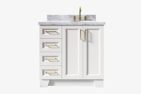 Ariel taylor 37 in. right offset oval sink vanity with carrara white marble - white quartz countertop