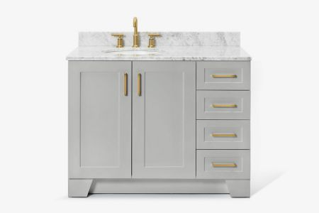 Ariel taylor 43 in. left offset single oval sink vanity with carrara white marble countertop in grey