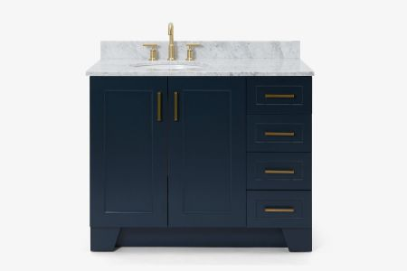 Ariel taylor 43 in. left offset single oval sink vanity with carrara white marble countertop in midnight blue