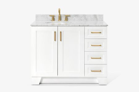 Ariel taylor 43 in. left offset single oval sink vanity with carrara white marble countertop in white