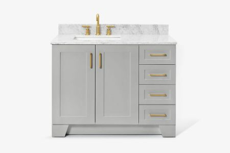 Ariel taylor 43 in. left offset single rectangle sink vanity with carrara white marble countertop in grey