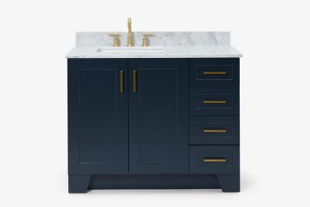 Ariel taylor 43 in. left offset single rectangle sink vanity with carrara white marble countertop in midnight blue