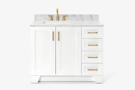 Ariel taylor 43 in. left offset single rectangle sink vanity with carrara white marble countertop in white