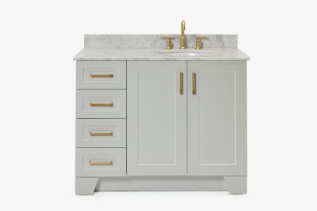 Ariel taylor 43 in. right offset single oval sink vanity with carrara white marble countertop in grey