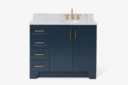 Ariel taylor 43 in. right offset single oval sink vanity with carrara white marble countertop in midnight blue