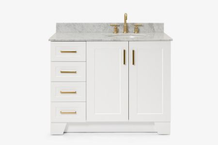 Ariel taylor 43 in. right offset single oval sink vanity with carrara white marble countertop in white