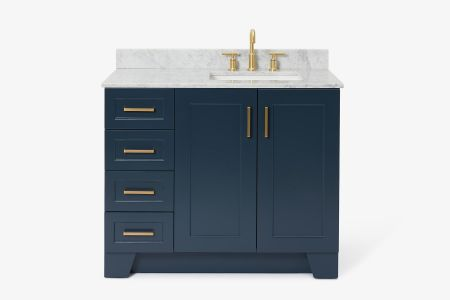 Ariel taylor 43 in. right offset single rectangle sink vanity with carrara white marble countertop in midnight blue