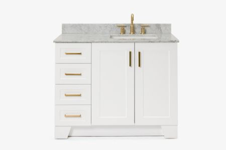 Ariel taylor 43 in. right offset single rectangle sink vanity with carrara white marble countertop in white
