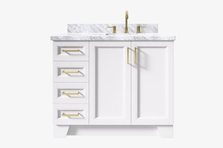 Ariel taylor 43 in. right offset rectangle sink vanity with carrara white marble - white quartz countertop