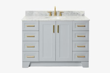 Ariel taylor 49 in. single oval sink vanity with carrara white marble countertop in grey