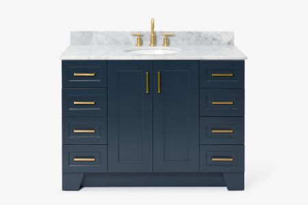 Ariel taylor 49 in. single oval sink vanity with carrara white marble countertop in midnight blue