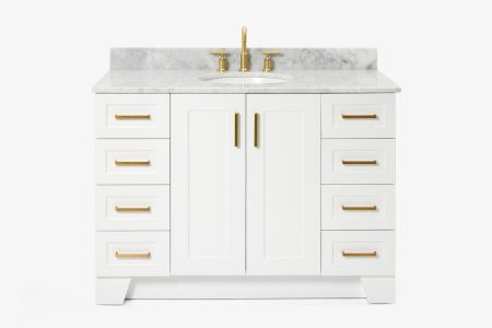 Ariel taylor 49 in. single oval sink vanity with carrara white marble countertop in white