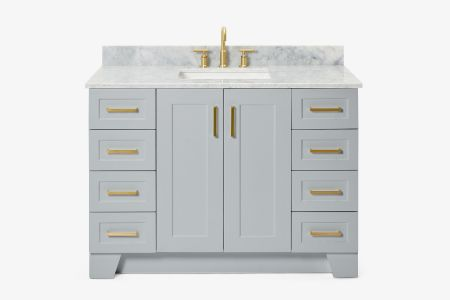 Ariel taylor 49 in. single rectangle sink vanity with carrara white marble countertop in grey