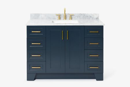Ariel taylor 49 in. single rectangle sink vanity with carrara white marble countertop in midnight blue