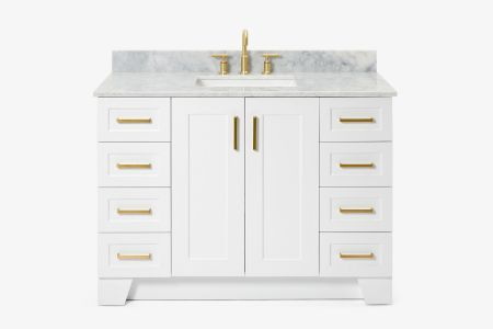 Ariel taylor 49 in. single rectangle sink vanity with carrara white marble countertop in white