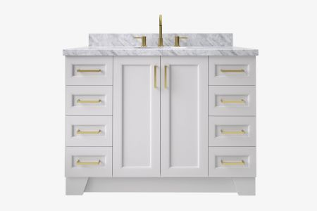 Ariel taylor 49 in. oval sink vanity with carrara white marble -white quartz countertop