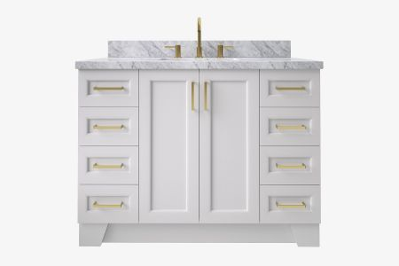 Ariel taylor 49 in. rectangle sink vanity with carrara white marble - white quartz countertop