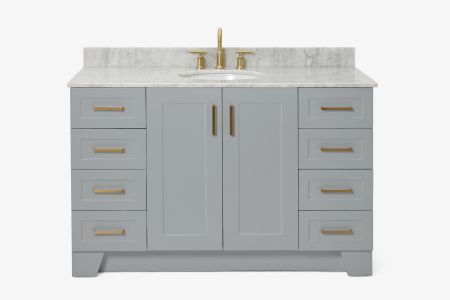 Ariel taylor 55 in. single oval sink vanity with carrara white marble countertop in grey