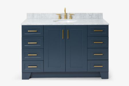 Ariel taylor 55 in. single oval sink vanity with carrara white marble countertop in midnight blue